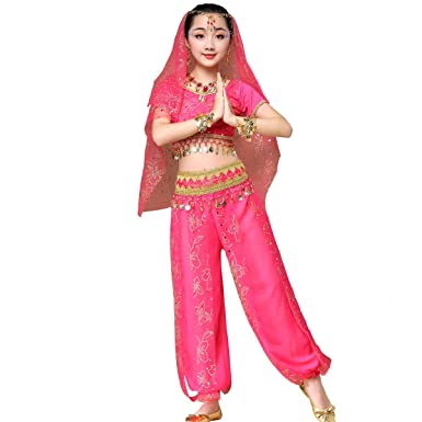 dde573d0ca40f Amazon.com: Belly Dance Bollywood Costume - Chiffon Indian Dance Outfit  Halloween Costumes with Head Veil for Women/Girls: Clothing