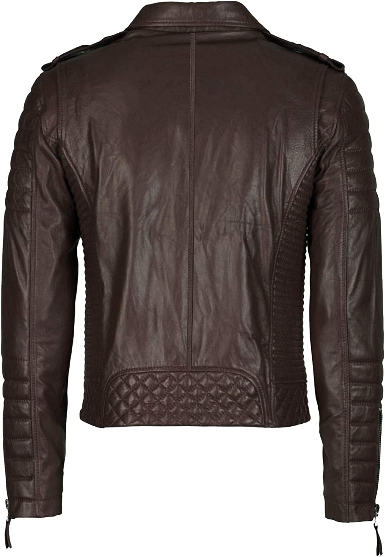 Mens Leather Jackets Motorcycle Biker Genuine Lambskin Leather Jacket