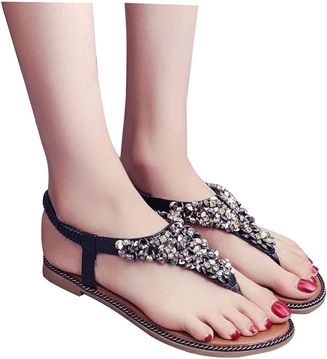 Lady Sandals Womens Sandals Female Summer Flat Korean Version of The Wild Students of The Word Folder Feet with Simple Wild Casual Quality Super Elegant for Women
