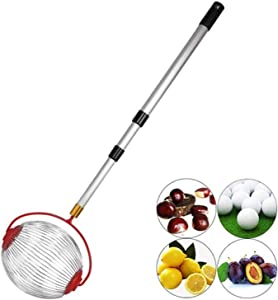KEAIDO Nut Collector Gatherer, Fruit Picker Walnut Chestnut Harvester, Roll Garden Manual Tool, Acorn Pine Cone Golf Ball with Adjustable Lightweight Telescopic Rod for Yard Lawn (Small-9Inch)
