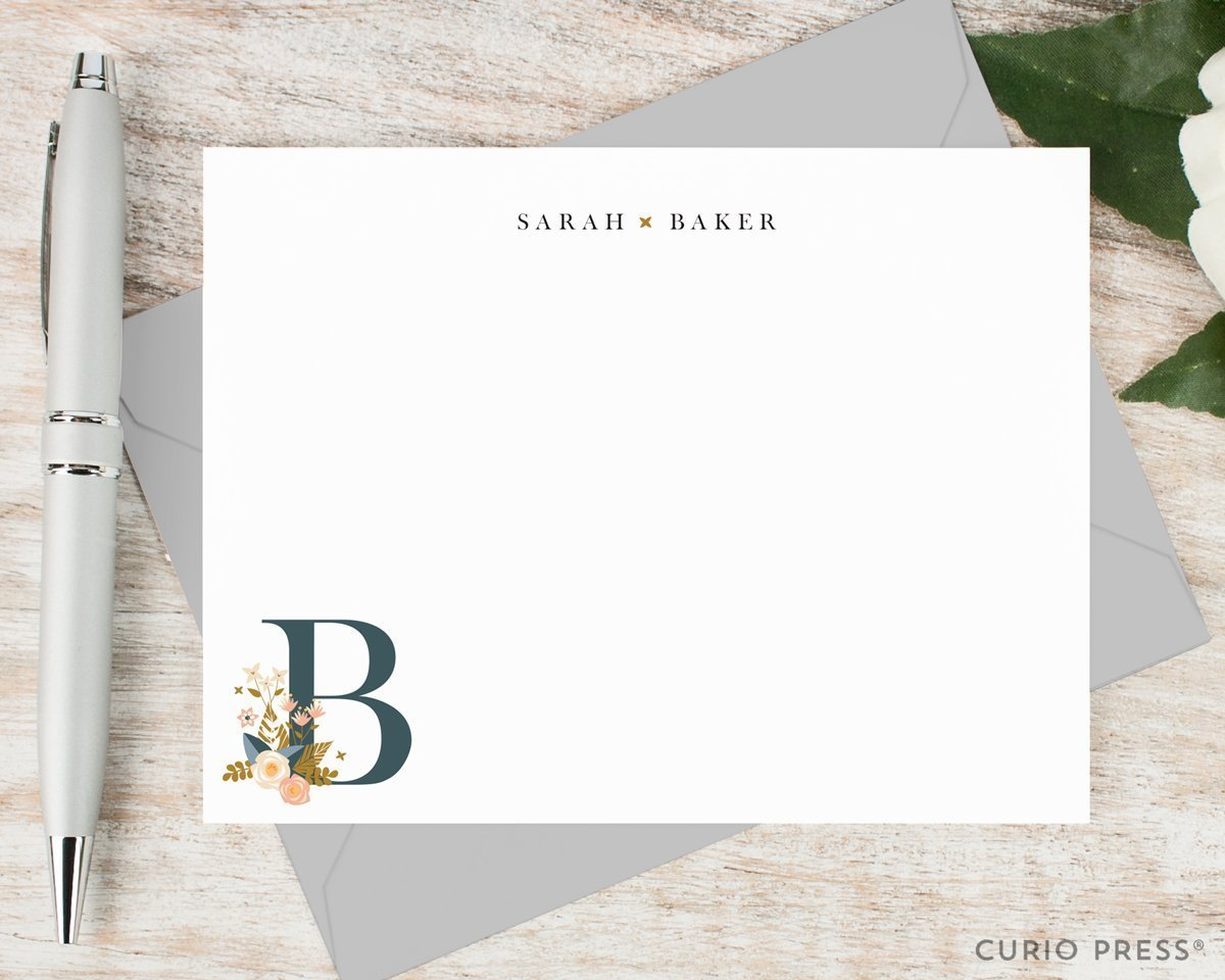 MIDNIGHT MONOGRAM - Personalized Flat Floral Stationery / Stationary Note Card Set