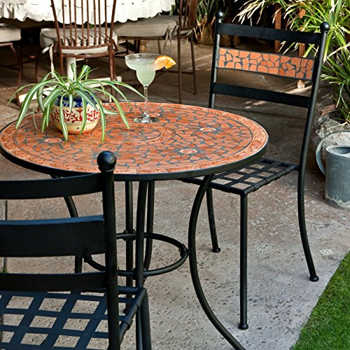 - Black Modern 3 Piece Gramercy Home Mosaic Patio Bistro Set | Perfect Contemporary Conversation Furniture Set for Your Home Outdoors by the BBQ Grill, Gazebo, Garden, Backyard or Firepit | Durable Rust Resistant Iron Frame and Maintenance Free