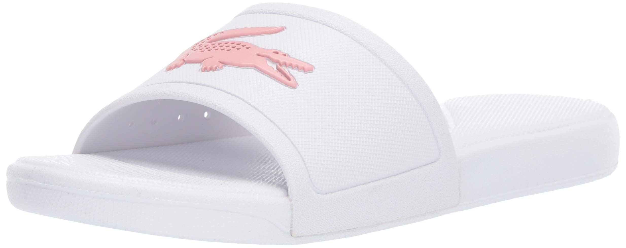 Lacoste Girls' L.30 Slide Sandal white/light pink 3 Medium US Big Kid