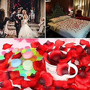 POAO 2500 PCS Durabel Artificial Flowers Romantic Silk Rose Petals Lightweight Table Confetti Flowers Wedding Party Decorations 3