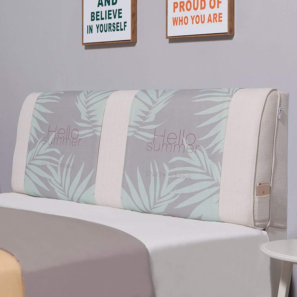 QIANGYU Bettrückenpolster Baumwolle und Leinen Keilrückenstütze Abnehmbar für Bett ohne Kopfteil Schlafsofa Weichwaschbar Mehrfarbig Optional (Color : A, Size : with headboard-180cm)