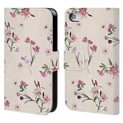 Officiel Micklyn Le Feuvre Dispersé Florals Étui Coque De Livre En Cuir Pour Apple iPhone 4 / 4S