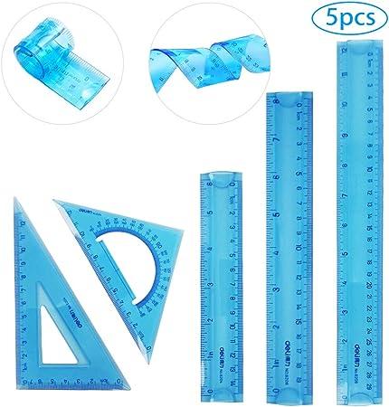 Regla Flexible, juego de reglas de plástico transparente Regla flexible a prueba de golpes Regla de doble pulgada CM en pulgadas para el hogar de la escuela Paquete de 5 (6/8/12 pulg.):