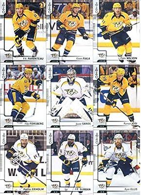 2017-18 O-Pee-Chee Hockey Nashville Predators Team Set of 18 Cards in a 4-Pocket Notebook: Mike Fisher(#17), Colton Sissons(#51), Pekka Rinne(#63), Calle Jarnkrok(#77), Austin Watson(#104), Ryan Johansen(#110), Craig Smith(#142), James Neal(#196), Viktor