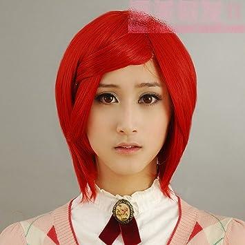 Recta corta peluca cosplay roja Gran Hermano casa peluca V 30CM cara cierre pimentón rojo oscuro