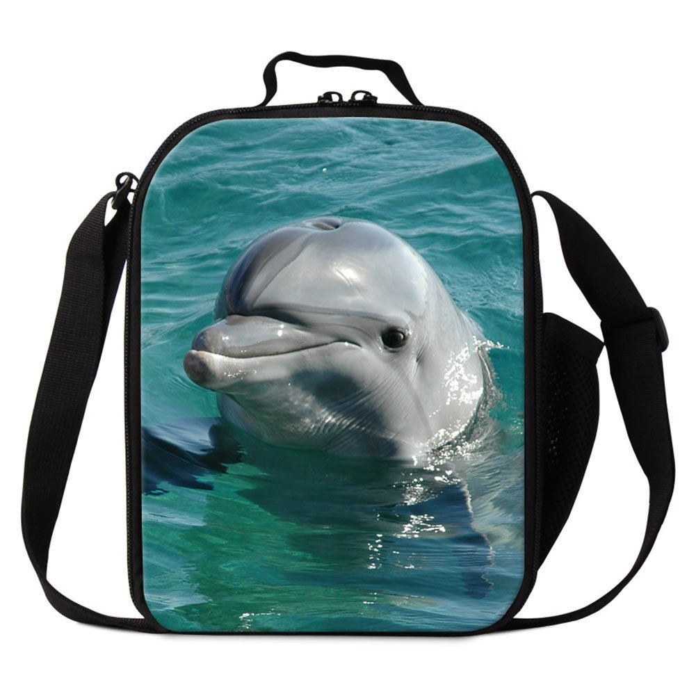 Dispalang Dolphin Lunch Bags for Children Cute Animal Shark Print Small Insulated Cooler Bags for Girls Kids Lunch Box Bags