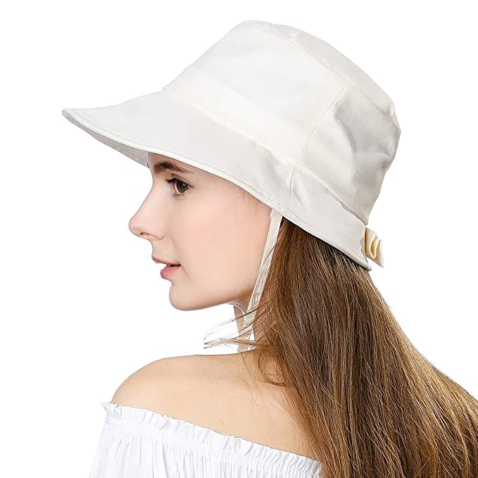 e374d329bbc Packable Sun Bucket Hat for Women Beach Safari Chin Strap Protection Travel  Bonnie SPF Brim Beige
