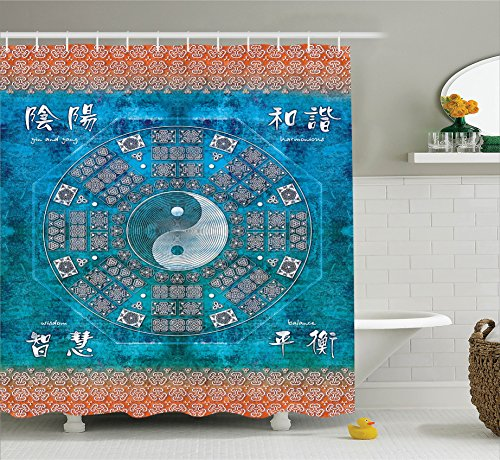 Ambesonne Home Decor Collection, Ying and Yang Print Octagon Circle with Asian Ethnic Balance Wisdom and Harmony Yoga Art, Polyester Fabric Bathroom Shower Curtain Set with Hooks, Teal Orange