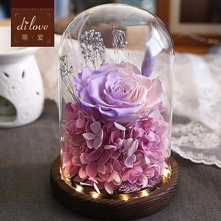 Flor Eterna Caja De Regalo Rosa Cubierta De Cristal Luz De ...
