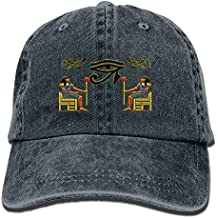 Lotus network Egyptian Ibis Ankh Horus Eye Denim Hat Adjustable Female Funny Baseball Cap