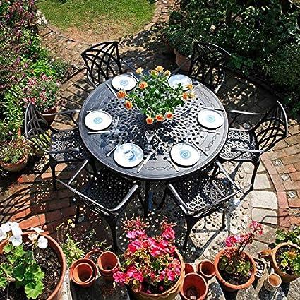 Lazy Susan - Table ronde 150 cm AMELIA, 6 chaises de jardin ...