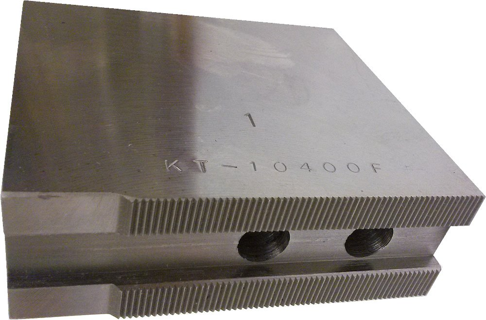 USST KT-10400F Steel Flat Soft Chuck Jaws for 10'' CNC Lathe Chucks, 4'' Tall (Set of 3 Pieces)