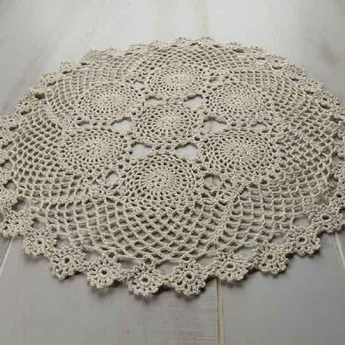 Package of 2 Hand Crocheted Round Ecru Doilies - 100% Cotton- 18