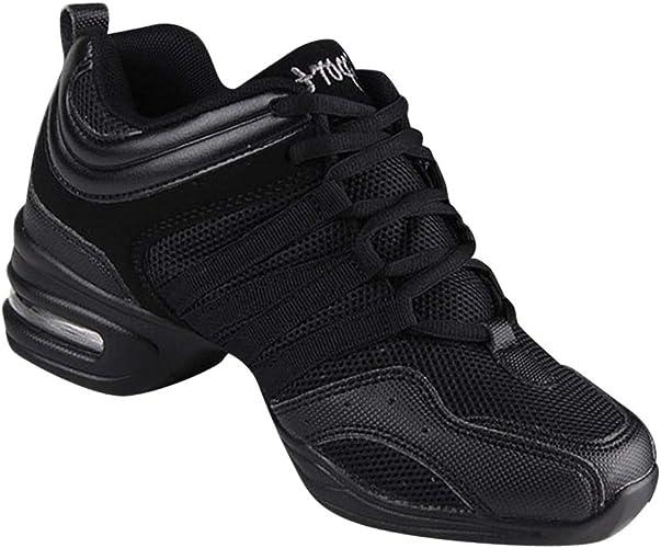 Gtagain Modern Dance Trainers Women Black Split Sole Mesh Shoe Lace up Sneakers Slip Resistant Jazz Ballroom Teaching Practice Sports Outdoor Shoes