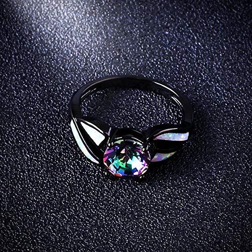 Adjustable Matt Nickel (Tomikko Mystic Rainbow Opal Band Men/Women 10KT Black Gold Fil Wedding Ring Size 5-11 | Model RNG - 24609 | 8)