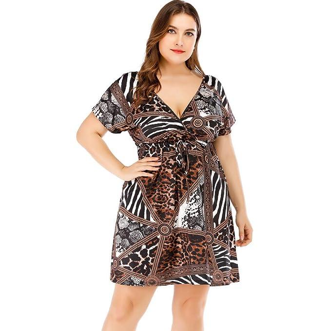 RUIVE Women\'s Dresses Plus Size Casual Short Sleeve Leopard Print ...