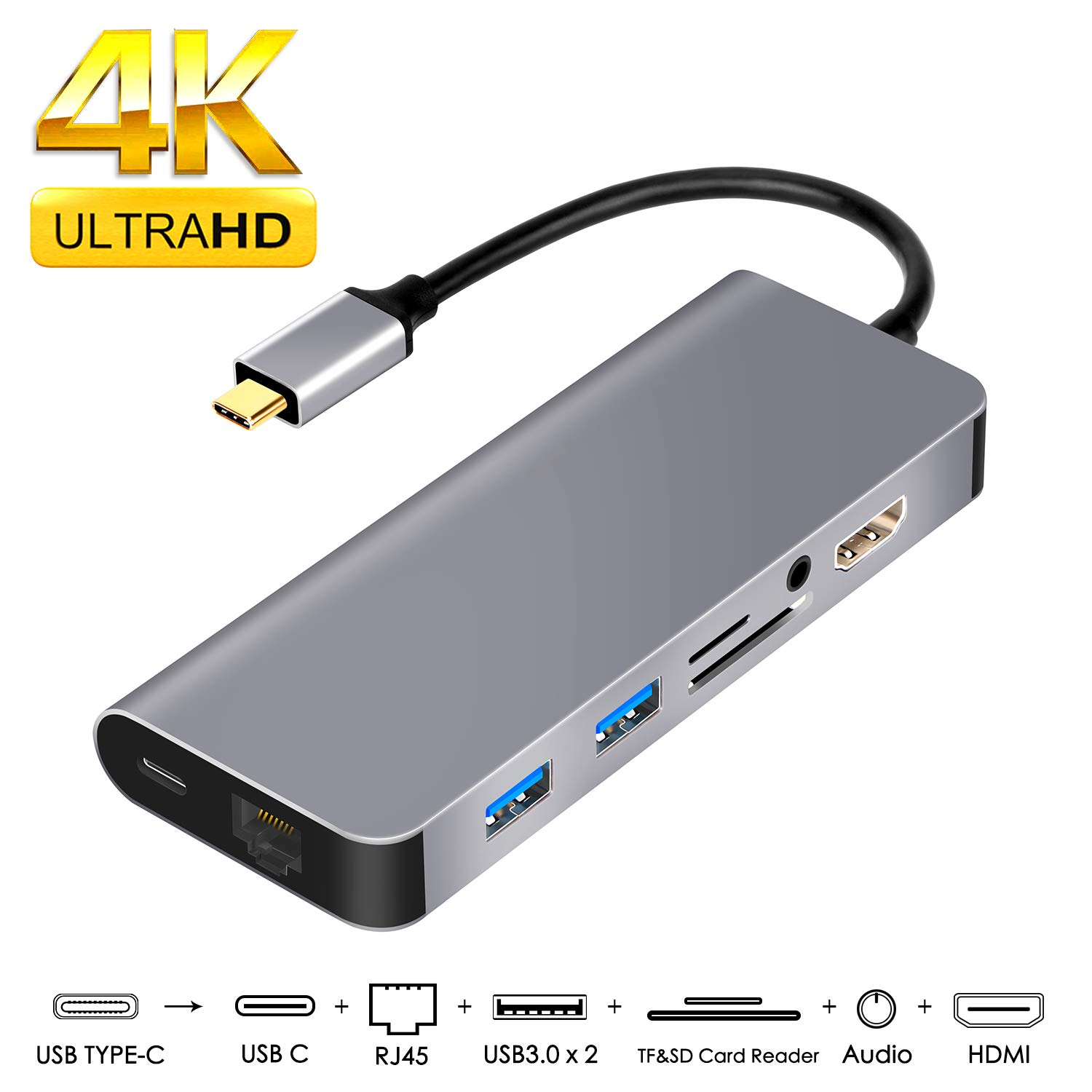 USB C Adapter HDMI Ethernet,8 in 1 Type C Adapter HDMI 4K,100W USB C Power Delivery,3.5mm Audio,2USB3.0,SD/TF Card Reader,Support Samsung DeX for Galaxy S9/S8/Note 9/8,Nintendo Switch,MacBook Pro 2017 2018