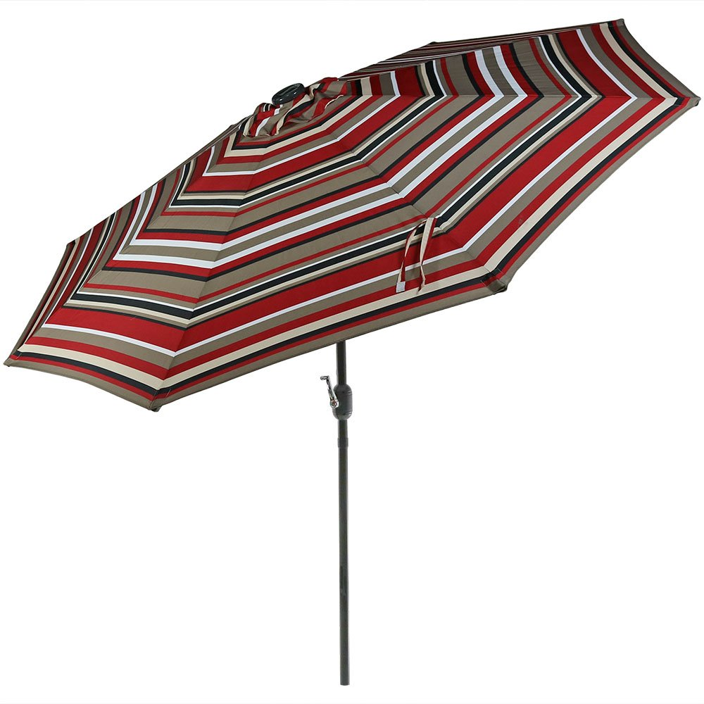 Sunnydaze 9 Foot Outdoor Patio Umbrella with Solar Lights Tilt Crank, LED, Awning Stripe