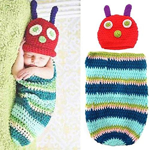TECH-P Creative Life Cute Caterpillar Style Newborn Baby Handmade Crochet Beanie Hat Clothes Baby Photograph (Caterpillar Costume)