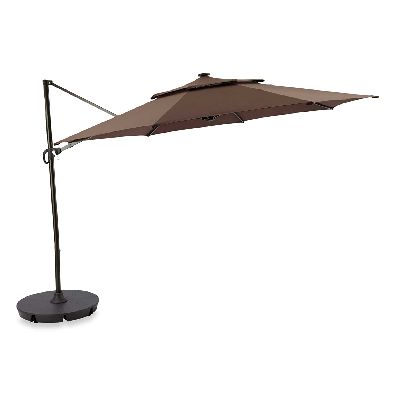 Amazon.com : Outdoor Patio Cantilever Umbrella 11 Foot Round Canopy With  Solor Powered Lights Includes Base Stand And Storage Cover (Mocha) : Garden  U0026 ...