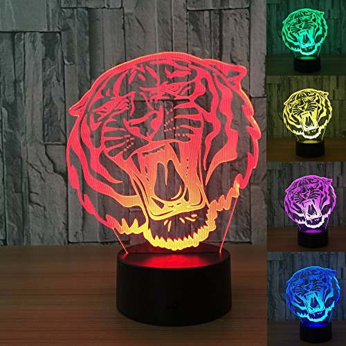3D Animal Tiger Night Light 7 Color Change LED Table Desk Lamp Acrylic Flat ABS Base USB Charger Home Decoration Toy Brithday Xmas Kid Children Gift For Sale