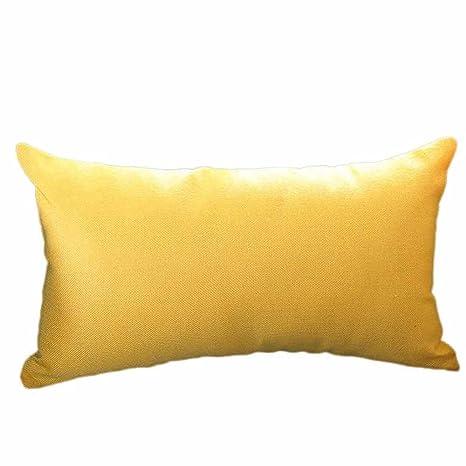 VJGOAL Casual Color sólido Suave Lino algodón Funda de Almohada Rectángulo extraíble y Lavable Cojín 30cm * 50cm(30_x_50_cm,Amarillo)
