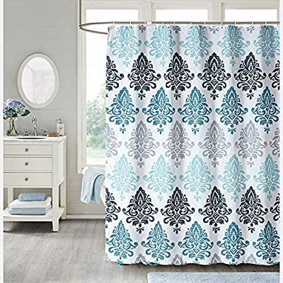 Uphome Fabric Shower Curtain Damask Print Ombre Design Boho Cloth Shower Curtains for Bathroom Ethnic Tribal, Heavy Weighted and Waterproof, 72 x 72 - [Durable Fabric] This fabric shower curtains crafted with premium fabric ensures long-lasting use. Classic Motif Boho design easy to update a luxury bathroom decor theme. [Raincoat Waterproof Technology] Raincoat waterproof technology making sure this is a water resistant bath curtain. It allowed water to easily glide off and resist soaking, work perfectly without a liner. [Weighted Hem] Uphome blue shower curtain customized with weighted hem than others holds up to daily use, keeps perfect drape and do not blow, offer you a cozily shower. - shower-curtains, bathroom-linens, bathroom - 61it8oaSa1L. SS400  -