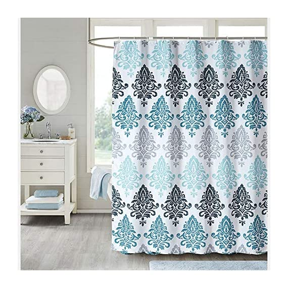 Uphome Fabric Shower Curtain Damask Print Ombre Design Boho Cloth Shower Curtains for Bathroom Ethnic Tribal, Heavy Weighted and Waterproof, 72 x 72 - [Durable Fabric] This fabric shower curtains crafted with premium fabric ensures long-lasting use. Classic Motif Boho design easy to update a luxury bathroom decor theme. [Raincoat Waterproof Technology] Raincoat waterproof technology making sure this is a water resistant bath curtain. It allowed water to easily glide off and resist soaking, work perfectly without a liner. [Weighted Hem] Uphome blue shower curtain customized with weighted hem than others holds up to daily use, keeps perfect drape and do not blow, offer you a cozily shower. - shower-curtains, bathroom-linens, bathroom - 61it8oaSa1L. SS570  -