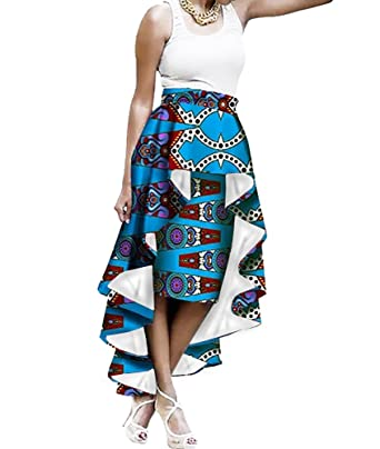 5f6da2e3a01 Sherrylily Womens Plus Size African Print Ruffles High Low Hem A Line Maxi  Skirts Dresses Blue