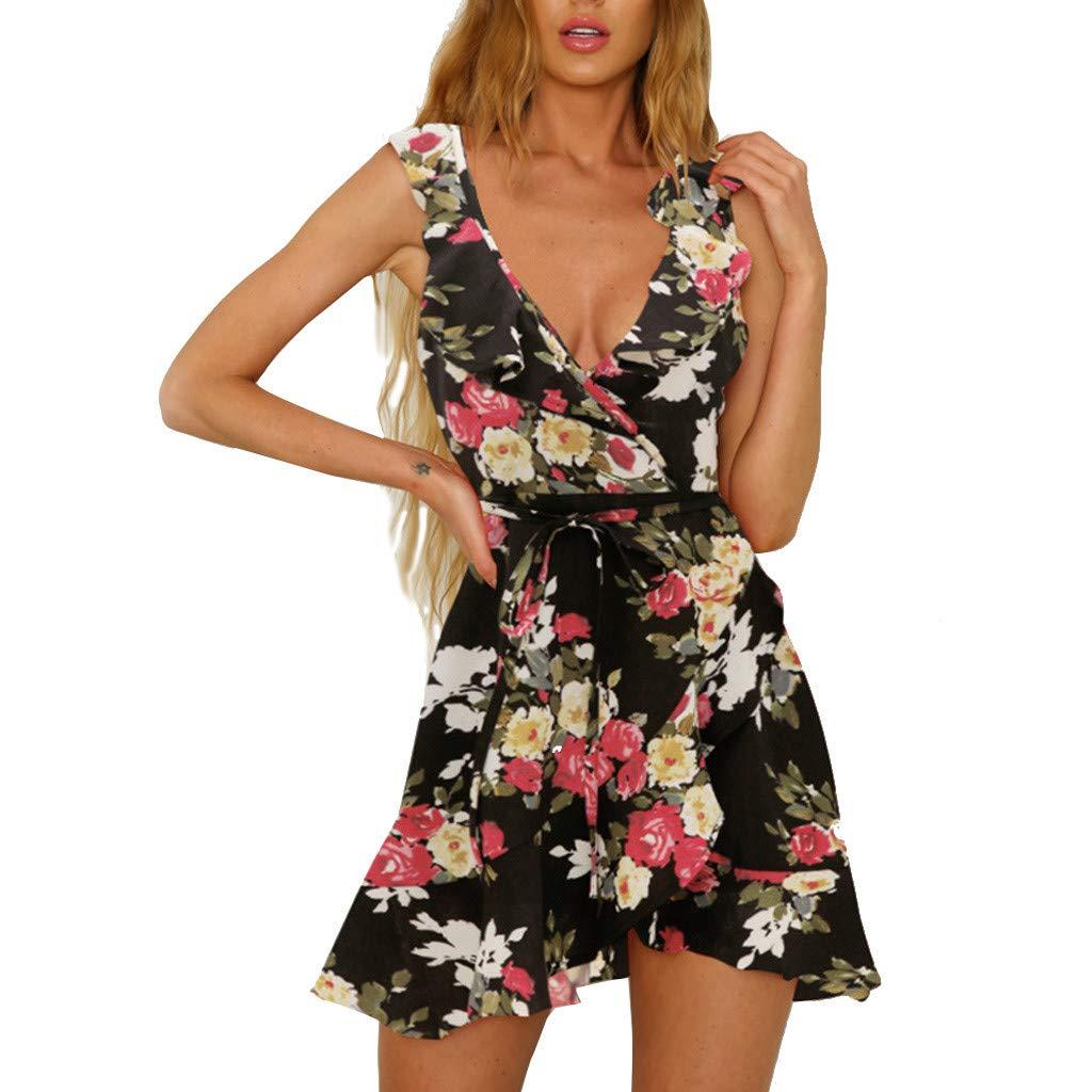 REALIKE Damen Kleid Reizvoller Rüschen V-Ausschnitt Ärmellos Blusekleid Elegant Blumendruck Bandage Slim Sommerkleid Abendkleid Cocktailkleid Ballkleid Festlich Partykleid