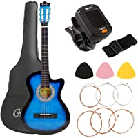 38 Inch Acoustic Guitar Classical Folk Guitar, Gifts for Beginners(with Tuner String Pick Bag Strap), Blue