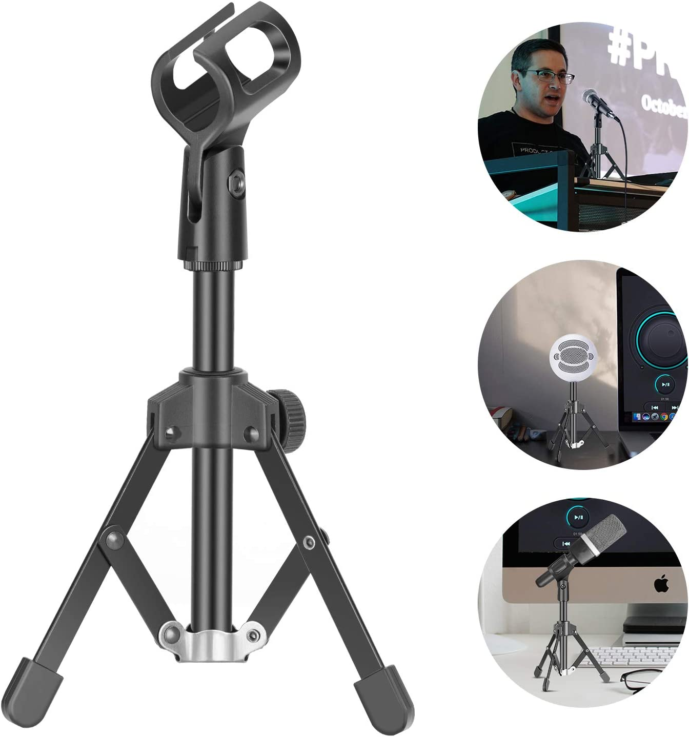 Neewer Mini Metal Foldable Desktop Tabletop Tripod Microphone Mic Stand with Mic Clip Holder, Durable Iron Construction, 3/8-inch and 5/8-inch Threaded Mount for Meetings Lectures Podcasts etc