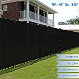 E&K Sunrise 6' x 12' Black Fence Privacy Screen, Commercial Outdoor Backyard Shade Windscreen Mesh Fabric 3 Years Warranty (Customized Set of 2