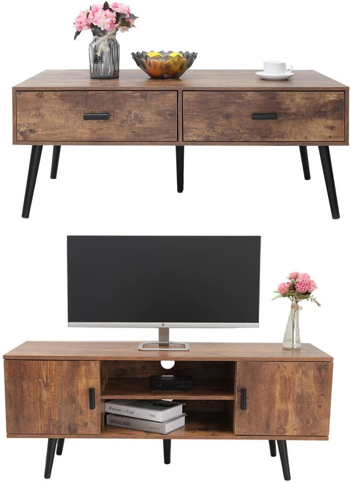 IWELL Mid-Century Coffee Table & TV Stand, Coffee Table with Drawer, TV Console with Storage Cabinet, Sofa Table, Office Table, Retro Home Media Entertainment Center