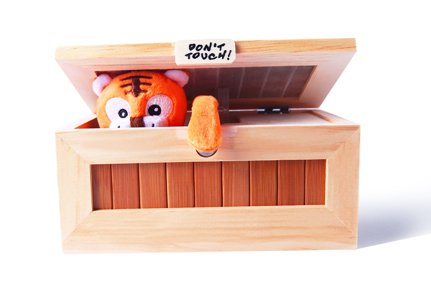 Useless box with toy tiger inside