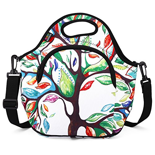 Insulated Lunch Bag, Nuovoware Neoprene Lunch Tote Reusable Picnic Bag Soft Thermal Cooler Tote Multi-purpose Grocery Container with Adjustable Crossbody Strap and Front Zipper Pockets, Lucky Tree