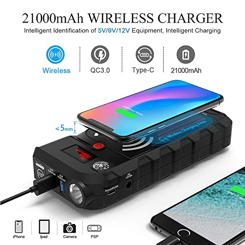 Beatit G18 PRO QDSP Wireless Charger 2000A 8.0L Gas and 8.0L Diesel Peak 21000mAh 12V Portable Car Jump Starter
