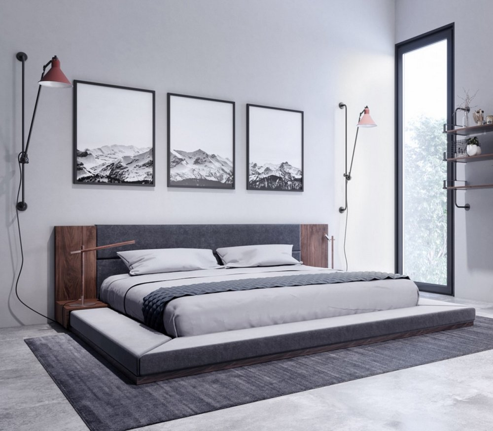 Limari Home Asherly Queen Bed, Grey/Walnut by Limari Home
