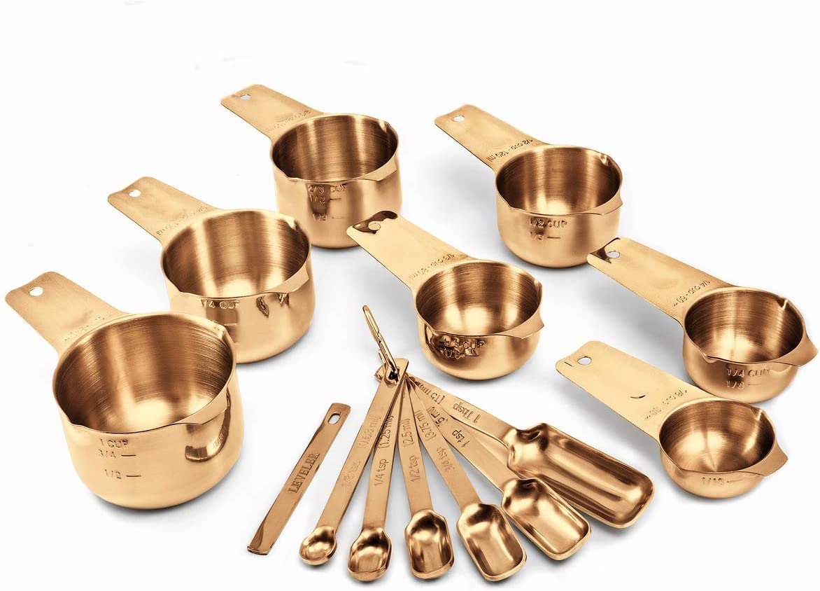 2LB Depot Copper Color Plated Measuring Cups & Spoons Set of 14