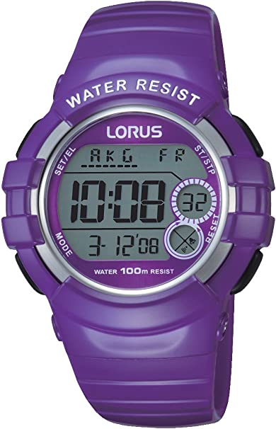 Relojes Lorus R2323KX9, Reloj deportivo digital de cuarzo caucho, morado