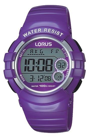 Relojes Lorus R2323KX9, Reloj deportivo digital de cuarzo caucho, morado: Amazon.es: Relojes
