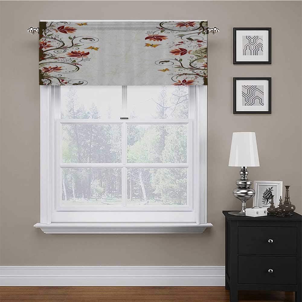 carmaxs Valence Curtains for Windows Floral for Living Room Bedroom Branches Leaves Artistic Bright Petals Essence Beauty Ornate Print 56