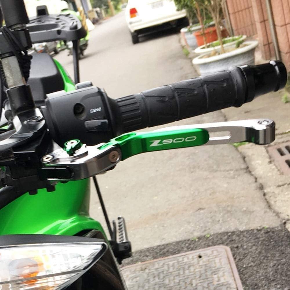 YZU Einstellbare CNC Klappbar ausziehbar Motorrad Bremsen-Kupplungs-Hebel for Kawasaki Z900 2017 2018 2019,Green black