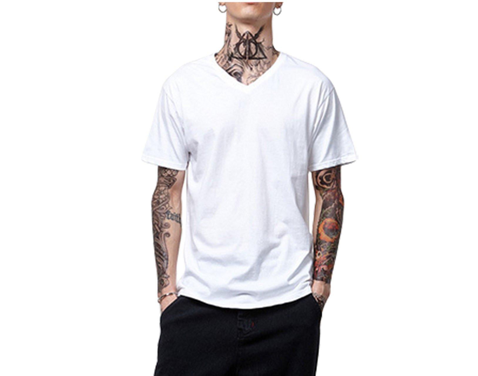 Faleto Basic Herren T-Shirt mit V-Ausschnitt Kurzarm T-Shirt Tops V-Neck, weiß/nachtblau/grau, Gr. L/XL (X-Large, Weiß)