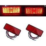 Tonsee 2x Universal Car ATV SUV 12V Red 24 LED Stop Fog Tail Brake Light Lamp