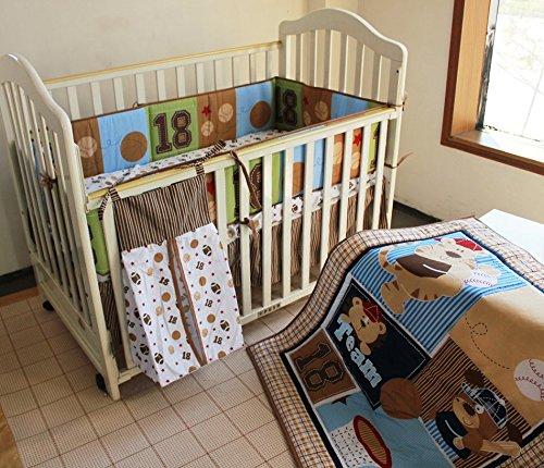 NAUGHTYBOSS Boy Baby Bedding Set Cotton Cartoon Bear Play Baseball Pattern Quilt Bumper Bedskirt Fitted Diaper Bag 8 Pieces Set Blue by NAUGHTYBOSS (Image #6)